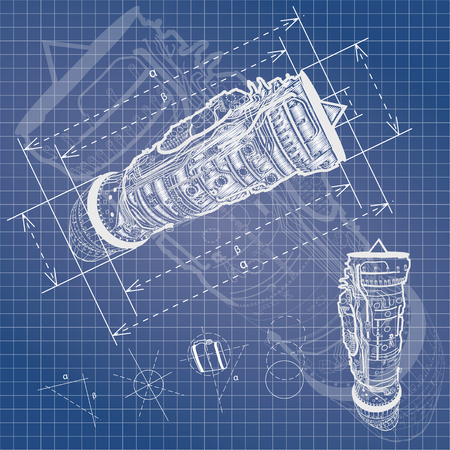 blueprint style vector outline airplane engine plan