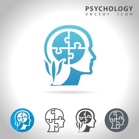 Illustration pour Psychology icon set, collection of puzzle head mind icons, illustration - image libre de droit