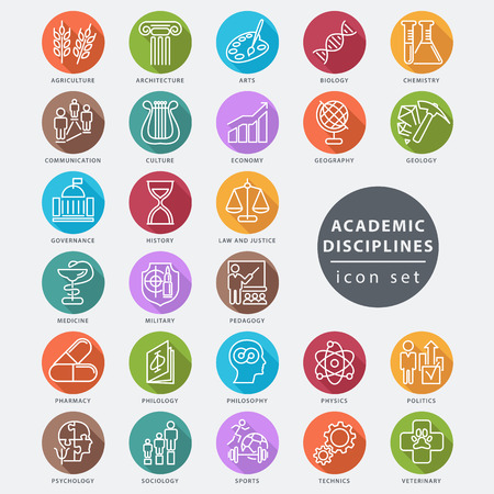 Vektor für Academic disciplines isolated icon set, vector illustration - Lizenzfreies Bild