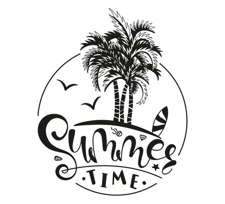 Illustration pour Summer Time. Hand written lettering with palm. Calligraphy phrase, black text isolated on white background. Summer typography for photo overlays, t-shirt print, flyer, poster design - image libre de droit