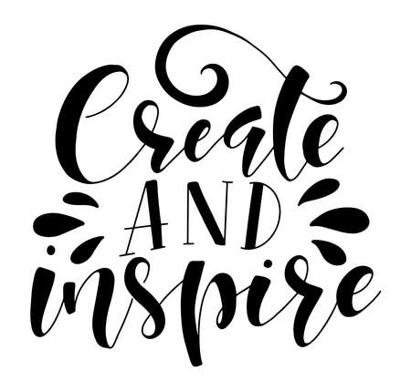 Illustration pour Black lettering Create and Inspire, vector stock illustration isolated on white background. - image libre de droit