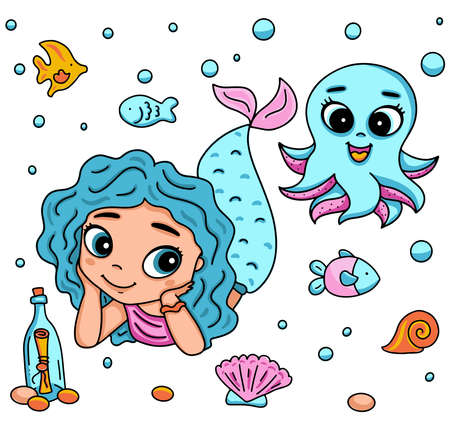 Illustration pour Vector illustration with little mermaid and octopus with big eyes. Marine life cartoon character, fish, snail, shell, bottle with a message - image libre de droit