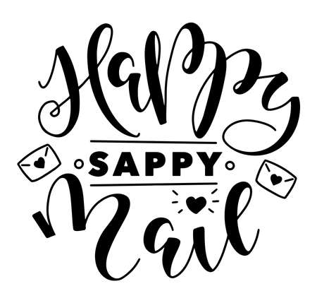 Illustration pour Happy sappy mail, black lettering with doodle envelope isolated on white background, vector illustration. - image libre de droit