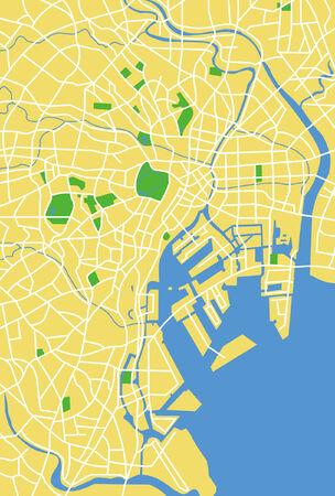 Vector pattern city map of Tokyo, Japan.