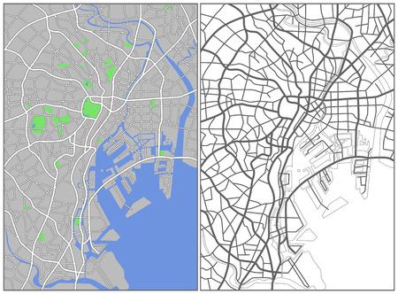 Illustration city map of Tokyo