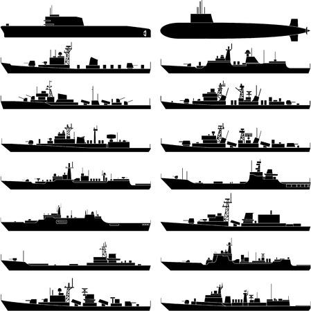 Illustration pour Vector illustration of various warships. - image libre de droit
