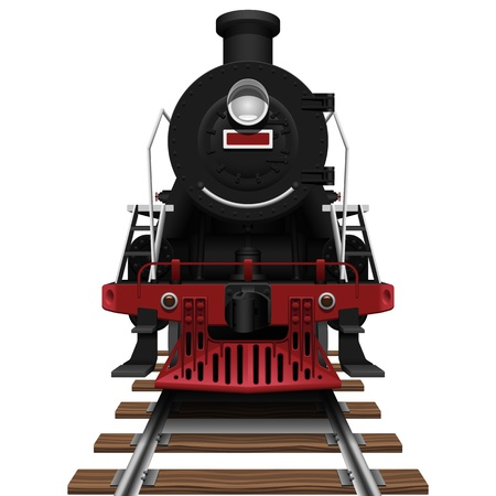 Layered vector illustration of steam locomotive with white background