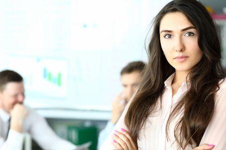 Smart brunette manager