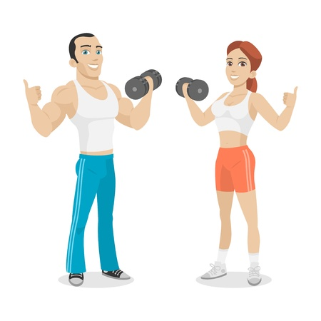 Photo for Guy and girl hold in dumbbell hand - Royalty Free Image