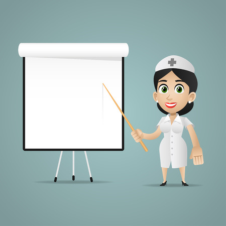 Nurse points on flipchart