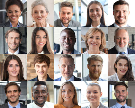 Photo pour Happy group of multiethnic business people men and women. Different young and old people group headshots in collage. Multicultural faces looking at camera - image libre de droit
