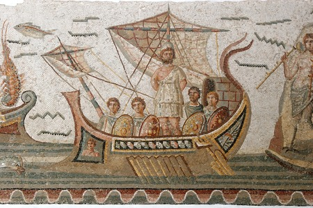 Ancient Roman mosaic located in the most famous museum in Tunis, Tunisia