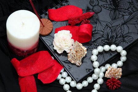 Nostalgic romantic concept with candle and black lace