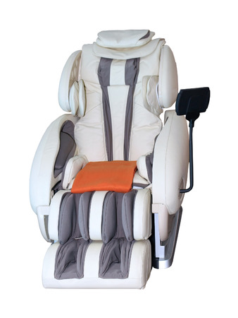 Leather reclining massage chair isolated with clipping path included