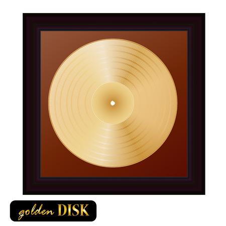 Gold disk vinyl with frame. Vector illustration