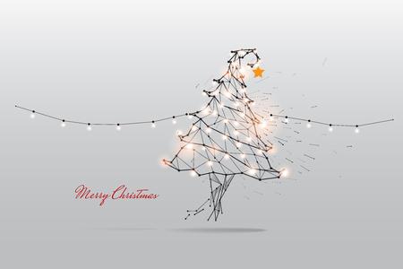Illustration pour The particles, geometric art, line and dot of Merry Christmas. - image libre de droit