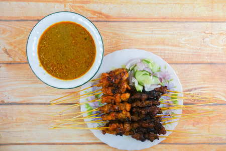 The Malaysian delicacy commonly known as Satay (bamboo stick skewered barbequed meat).