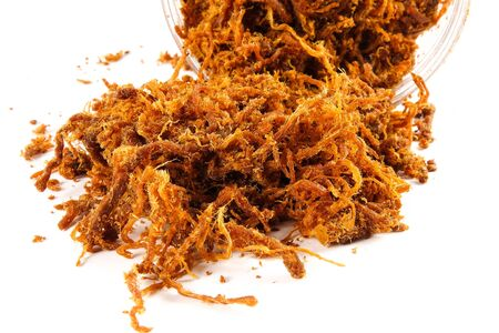 Photo pour Serunding, dried meat floss made of beef or chicken. Popular in Malaysia especially during Hari Raya festive celebration. - image libre de droit