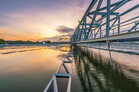 Photo pour Water Treatment Plant with sunrise - image libre de droit