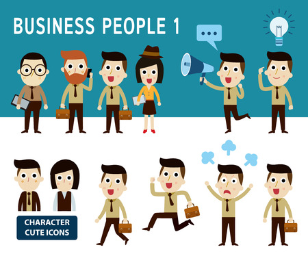 businessman character cartoon design infographic Conceptset of people character cartoon modern flat iconElements banner design for flyer and website newsmagazine vector illustration
