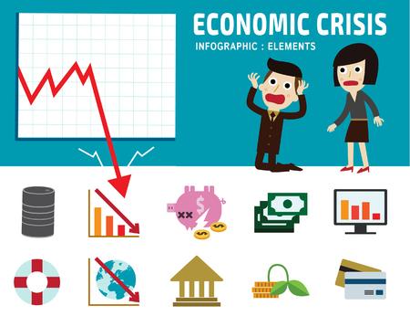 economic crisis frustrated business man cartoon character.