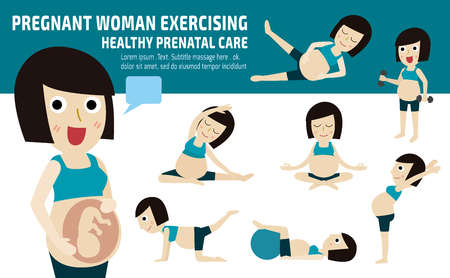 Foto de pregnant exercise.set of full body mom relax with pilates.wellness  conceptmother cartoon character.vector flat modern icons design.brochure illustration.isolated on white and blue background. - Imagen libre de derechos