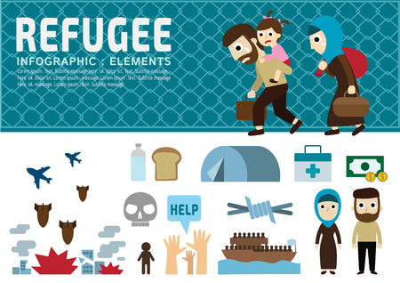 refugee.vector.war victims concept.infographic elements.set of flat icons cartoon character design.banner header. illustration.isolated on white and blue background.