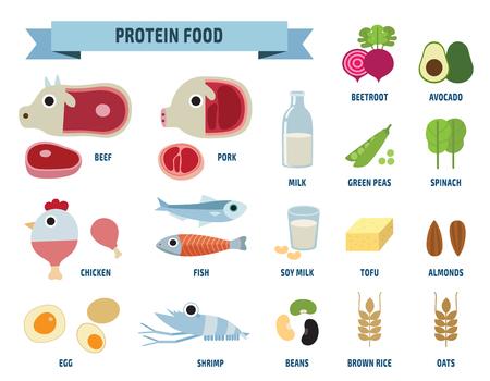 Vektor für protein food iconsisolated on white backgroundflat design cute illustration. - Lizenzfreies Bild