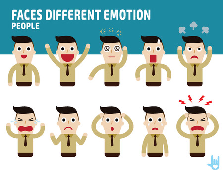 Illustration for man faces showing different emotions.Illustration isolated on white background - Royalty Free Image