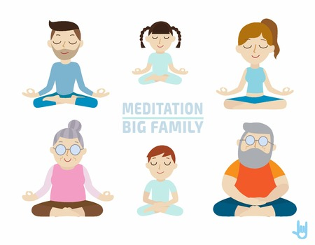 meditation. people character design.healthcare concept.flat cute cartoon design illustration.isolated on white background.のイラスト素材