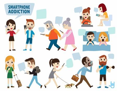 Illustration pour smartphone addiction.bad lifestyle concept.infographic element.flat cute cartoon design illustration.isolated on white background. - image libre de droit
