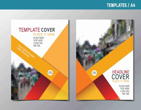 Illustration pour red yellow abstract  flat vector annual reportleaflet brochure template A4 size designflyer modern multipurpose stylebook cover layout design - image libre de droit