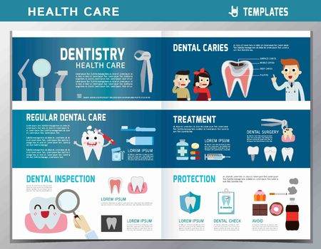 leaflet of dental clinic services.flat cute cartoon design illustration.isolated on white and blue background.template cover for magazine or website