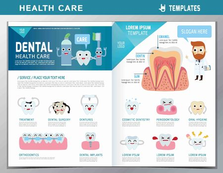 Illustration pour leaflet of dental clinic services.flat cute cartoon design illustration.isolated on white background.template cover for magazine or website - image libre de droit