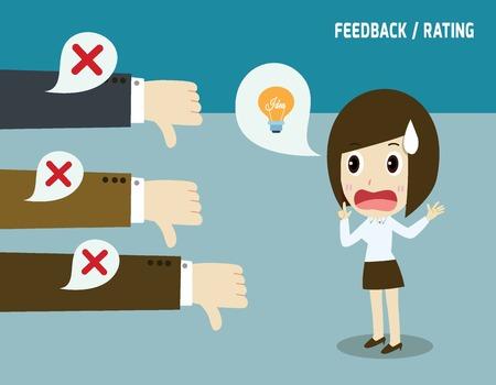 Illustration pour Unsuccessful businesswoman.Negative feedback conceptual.Colleagues dislike that idea.not accepted concept. - image libre de droit