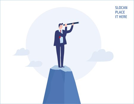 Illustration for Businessman looking through telescope on top of the mountain.goals, success, achievement and challenge  people business concept vector flat design illustration banner brochureisolated background - Royalty Free Image
