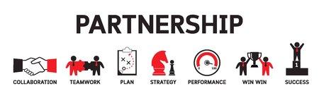 Ilustración de Partnership icons concept. Strategic Business Teamwork infographics vector banner illustration - Imagen libre de derechos