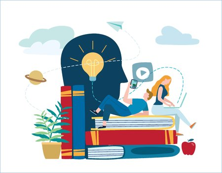 Ilustración de small people learn and gain knowledge. vector illustration. - Imagen libre de derechos