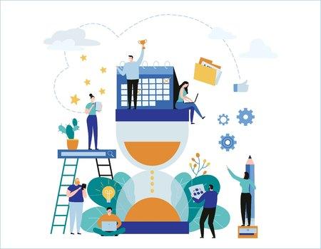 Time management. Vector Illustration banner.deadline. planning events concept.organization optimizationflat cartoon character graphic design for web mobile.