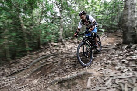 Prachinburi, Thailand -June 05, 2016: Thailand Enduro Series 2016. Mountain bike races at Kao E-TO, which combines cross-country mountain bike downhill, on June 4-6, 2016.