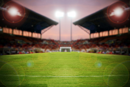 blurry of football stadium and stadium arena soccer field championship win for background