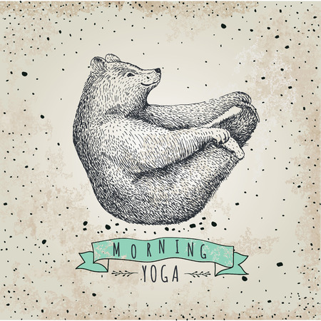 llustration of bear isolated on vintage background