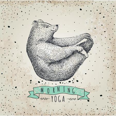 Illustration pour llustration of bear isolated on vintage background - image libre de droit