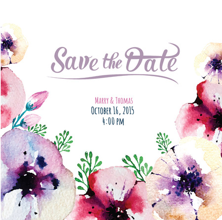 invitation card with watercolor elements - Save the date