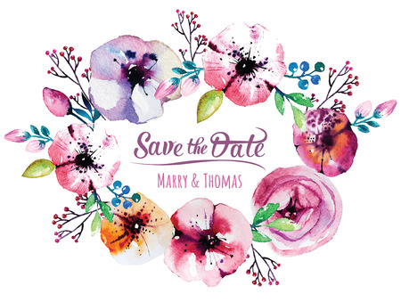 Vector invitation card with watercolor elements. Wedding collection. Save the date with floral elements. Blossom flowers. Vector elements.