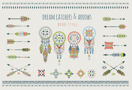 Set of arrows, dream catchers, Indian elements. Vector tribal elements. Aztec logos and badges.