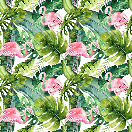 Photo for Tropical isolated seamless pattern with flamingo. Watercolor tropic drawing, rose bird and greenery palm tree, tropic green texture, exotic flower. Aloha set - Royalty Free Image