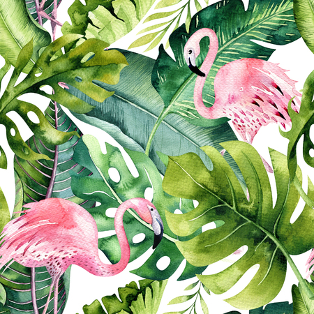 Foto de Tropical isolated seamless pattern with flamingo. Watercolor tropic drawing, rose bird and greenery palm tree, tropic green texture, exotic flower. Aloha set - Imagen libre de derechos