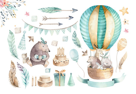 Foto de Cute baby nursery on balloon isolated illustration for children. Bohemian watercolor bohemian bear, cat hipo and deer drawing, watercolour image. Perfect for nursery posters, baby shower, patterns. Birthday boho invitation - Imagen libre de derechos