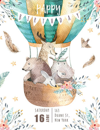 Photo pour Cute baby nursery on balloon isolated illustration for children. Bohemian watercolor bohemian bear, cat hipo and deer drawing, watercolour image. Perfect for nursery posters, baby shower, patterns. Birthday boho invitation - image libre de droit